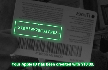 iTunes uses camera to read $10 gift card code.