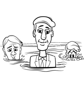 Black and White Concept Cartoon Illustration of Head Above Water Business Saying or Metaphor